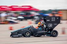 Anteater Formula Racing's 2019 Racecar on the Endurance track at Formula SAE Lincoln 2019